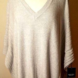 NWT Verawang grey ribbed poncho sweater